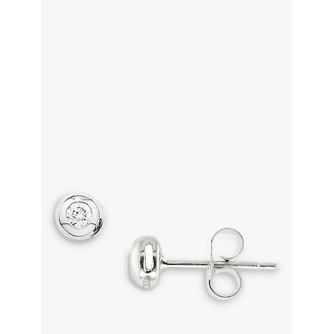 Buy EWA 9ct White Gold Flush Set Diamond Stud Earrings Online at johnlewis.com