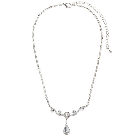 Buy John Lewis Crystal Pendant Necklace And Drop Earrings Set, Silver Online at johnlewis.com