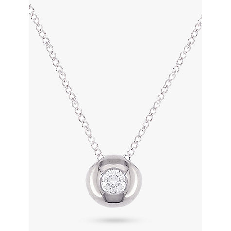 Buy EWA 9ct White Gold Flush Set Diamond Pendant Online at johnlewis.com