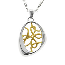 Buy Nina B Sterling Silver Asymmetric Gold Plated Threads Pendant, Silver / Gold Online at johnlewis.com