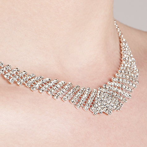 Buy John Lewis Diamante Collar And Drop Earrings Set, Silver Online at johnlewis.com