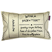 Buy Roald Dahl Charlie and the Chocolate Factory Golden Ticket Cushion Online at johnlewis.com