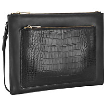Buy Whistles Stevie Double Croc Clutch Handbag, Black Online at johnlewis.com