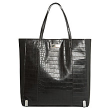 Buy Mango Croc Effect Shopper Bag, Black Online at johnlewis.com