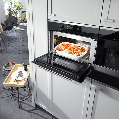 Buy Miele H6300BM ContourLine Single Electric Oven with Microwave, Clean Steel Online at johnlewis.com