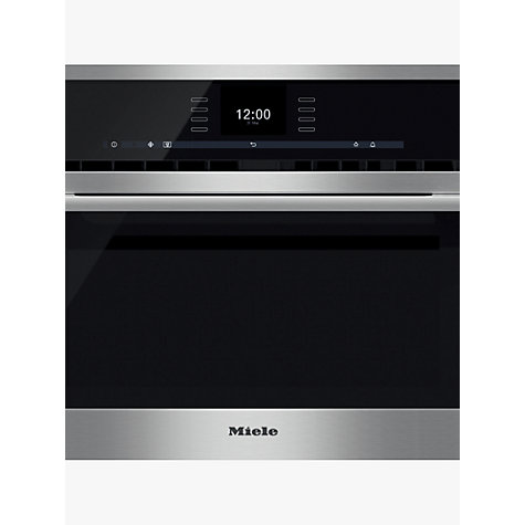 Buy Miele H6500BM ContourLine Single Electric Oven with Microwave, Clean Steel Online at johnlewis.com