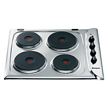 Buy Hotpoint E604X Sealed Plate Electric Hob, Stainless Steel Online at johnlewis.com