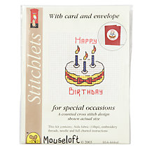 Buy Mouseloft Birthday Cake Cross Stitch Kit with Card and Envelope Online at johnlewis.com