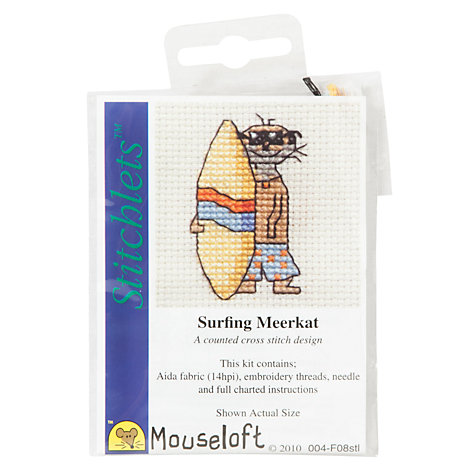 Buy Mouseloft Surfing Meerkat Cross Stitch Kit Online at johnlewis.com