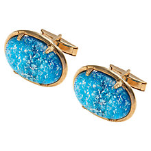 Buy Eclectica Gold Plated Blue Cabachon Cufflinks Online at johnlewis.com