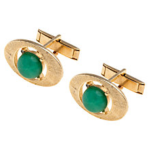 Buy Eclectica Gold Plated Oval Glass Cufflinks, Gold/Green Online at johnlewis.com