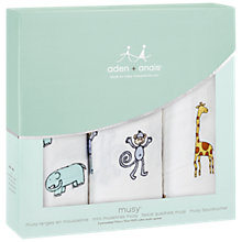 Buy Aden and Anais Muslin Cloths, Pack of 3, Jungle Jam Online at johnlewis.com