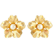 Buy Susan Caplan Vintage 1950s Boucher Faux Pearl Flower Clip-On Earrings, Gold Online at johnlewis.com