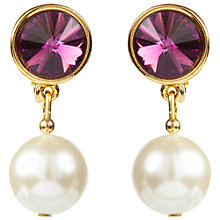 Buy Susan Caplan Vintage 1990s Swarovski Crystal and Faux Pearl Drop Clip-On Earrings Online at johnlewis.com