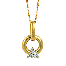 Buy Sharon Mills 18ct Gold Diamond Triangle Double Ring Drop Pendant Online at johnlewis.com