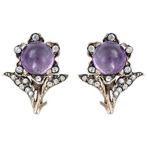 Buy Sharon Mills Silver Amethyst Cabochon Flower Clip Earrings Online at johnlewis.com