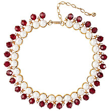 Buy Susan Caplan Vintage 1960s Trifari Faux Pearl Crystal Necklace, Ruby Online at johnlewis.com