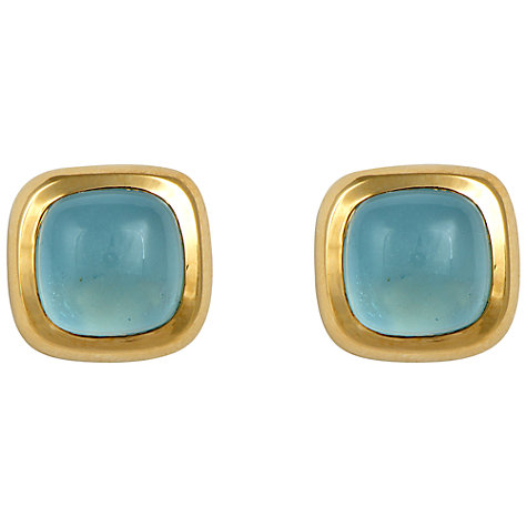 Buy Sharon Mills 14ct Gold Aquamarine Cabochon Clip-On Earrings Online at johnlewis.com
