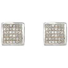 Buy Sharon Mills 9ct White Gold Pave Diamond Square Stud Earrings Online at johnlewis.com