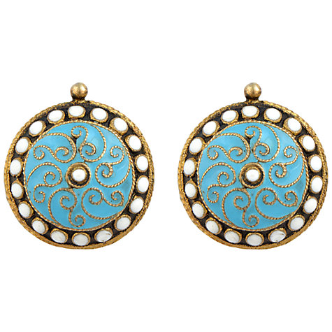 Buy Sharon Mills 1900s Gilt Enamel Disc Earrings, Turquoise Online at johnlewis.com