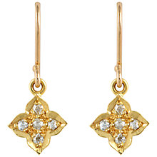 Buy Sharon Mills 18ct Gold Diamond Flower Drop Earrings Online at johnlewis.com