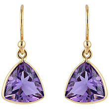 Buy Sharon Mills 9ct Gold Trillion Cut Amethyst Drop Earrings, Purple Online at johnlewis.com