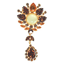 Buy Alice Joseph Vintage 1950s Diamante Drop Satin Stone Brooch, Brown Online at johnlewis.com