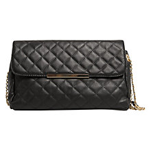 Buy Mango Metal Plate Detail Quilted Bag, Black Online at johnlewis.com