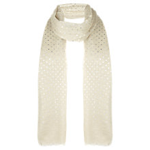Buy Jigsaw Metallic Spot Scarf, Cream Online at johnlewis.com