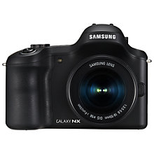 "Buy Samsung Galaxy NX Compact System Camera with 18-55mm, 16mm & 50-200mm Lens, HD 1080p, 20.3MP, Wi-Fi, GPS, EVF, 4.8"" Touch Screen Online at johnlewis.com"