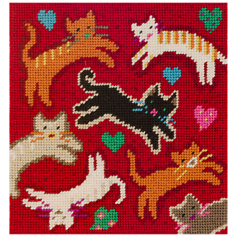 Buy Jolly Red Flying Felines Embroidery Kit Online at johnlewis.com