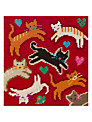 Jolly Red Flying Felines Embroidery Kit