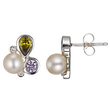 Buy A B Davis Freshwater Pearl And Amethyst Sterling Silver Stud Earrings Online at johnlewis.com