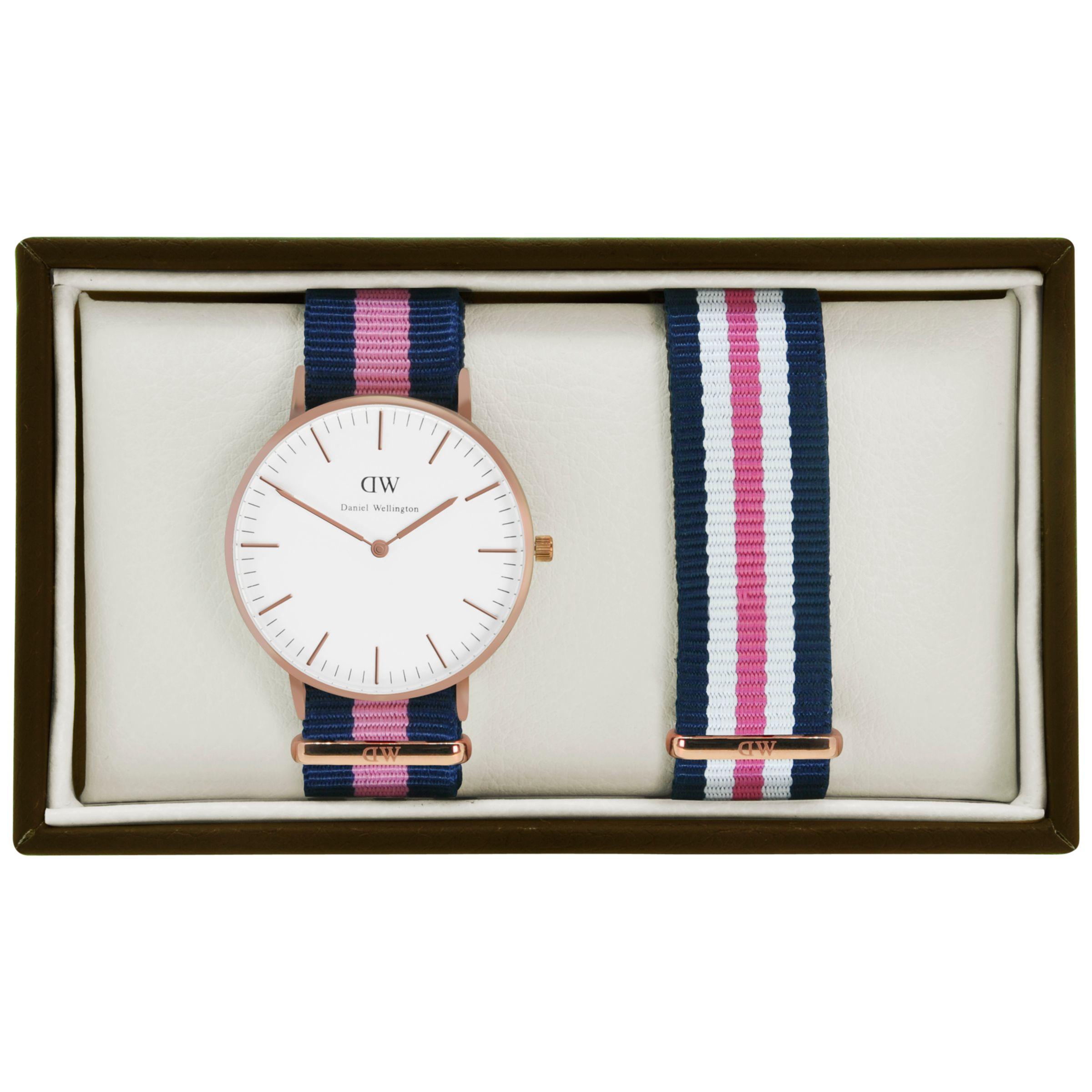 Daniel Wellington Daniel Wellington 0505DW-0706 Women's Winchester Multi Strap Watch Gift Set, Navy/Pink