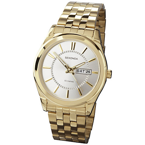 Buy Sekonda 3450.27 Men's Stainless Steel Gold Plated Bracelet Strap Watch Online at johnlewis.com