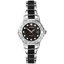 Buy Sekonda 4084.27 Women's Twilight Mother of Pearl Diamante Bracelet Strap Watch, Silver/Black Online at johnlewis.com