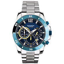 Buy Sekonda 3484.27 Men's Chronograph Steel Bracelet Watch, Silver / Blue Online at johnlewis.com
