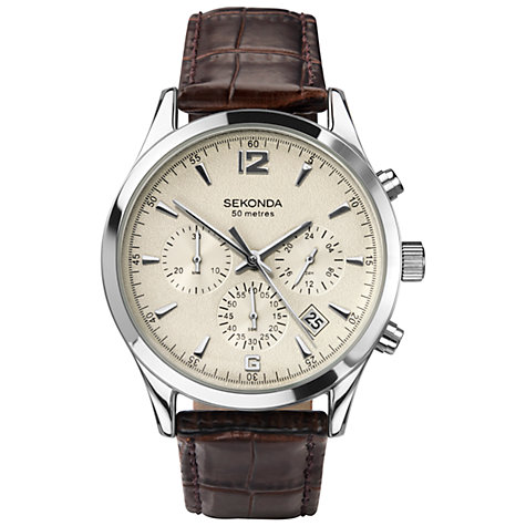 Buy Sekonda 3487.27 Men's Textured Leather Strap Chronograph Watch, Ivory / Brown Online at johnlewis.com