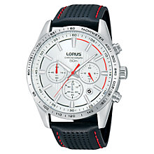 Buy Lorus RT345DX9 Men's Exclusive Chronograph Leather Strap Watch, Black Online at johnlewis.com