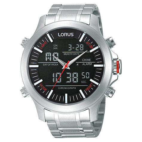 Buy Lorus RW601AX9 Men's Stainless Steel Dual Time Watch Online at johnlewis.com