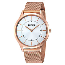 Buy Lorus RTA42AX9 Unisex Slim Mesh Strap Watch, Rose Gold Online at johnlewis.com