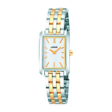 Buy Lorus RRW59DX9 Women's Stainless Steel Square Two-Tone Bracelet Watch Online at johnlewis.com
