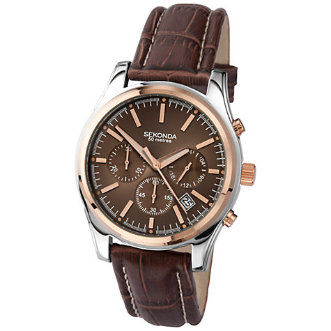 Buy Sekonda 3485.27 Men's Two-Tone Leather Strap Chronograph Watch, Rose Gold / Brown Online at johnlewis.com
