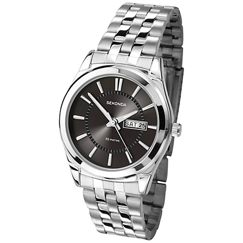 Buy Sekonda 3479.27 Men's Day Date Bracelet Strap Watch, Silver/Black Online at johnlewis.com