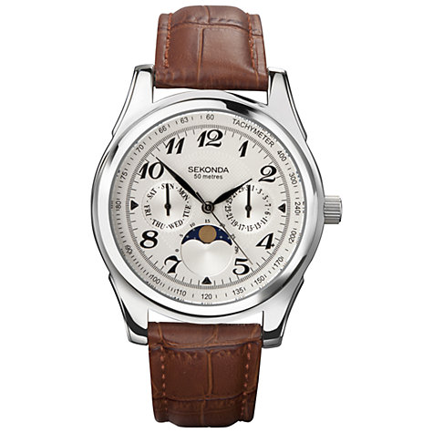 Buy Sekonda 3503.27 Men's Moonphase Day / Date Leather Strap Watch, Brown Online at johnlewis.com