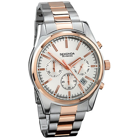 Buy Sekonda 3486.27 Men's Two-Tone Chronograph Watch, Silver / Rose Gold Online at johnlewis.com