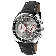 Buy Sekonda 3509.27 Men's Leather Strap Chronograph Watch, Black Online at johnlewis.com