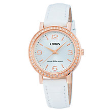 Buy Lorus RG202JX9 Women's Crystal Bezel Leather Strap Watch, White / Rose Gold Online at johnlewis.com