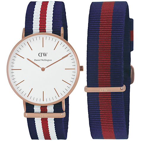 Buy Daniel Wellington 0102DW-0301 Unisex Canterbury Multi Strap Gift Set, Red / Blue Online at johnlewis.com