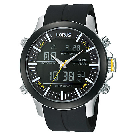 Buy Lorus RW605AX9 Men's Digital Dual Time Chronograph Rubber Strap Watch, Black Online at johnlewis.com